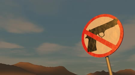 proibir : Gun control concept animation, sign, warn.
