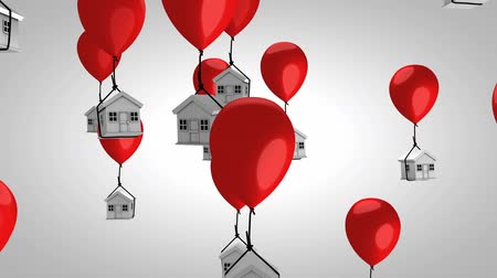 хрупкий : Housing price balloon concept animation. With alpha matte. Стоковые видеозаписи