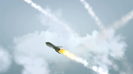 destroyer : Concept animation missiles attack, world war, weapon, missiles. Stock Footage