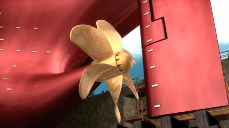 dockyard : Computer generated, Close up detail Ship propeller.