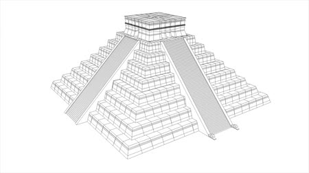 azték : Mesoamerican Aztec Maya pyramid, wireframe and textured 360 view structural animation. Stock mozgókép