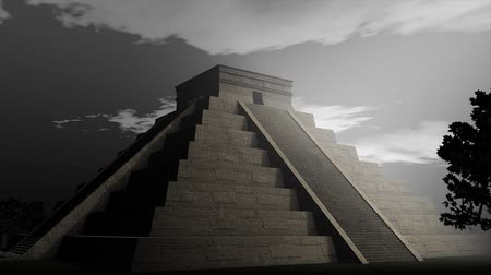 azték : An artist visualize Maya Pyramid. Stock mozgókép
