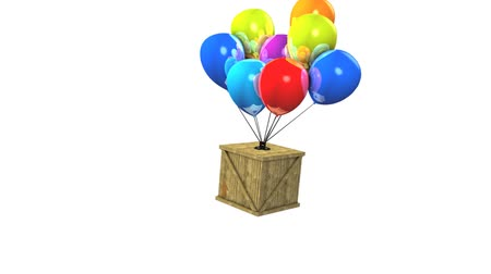 satire : Fun animation wooden box balloon delivery concept.