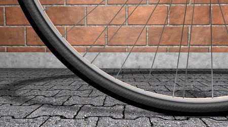 ciclismo : Close-up bicycle wheel spinning, shop, background..