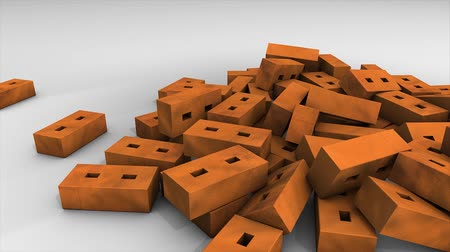 brickwall : Bricks falling animation, background, red, gravity, fall. Stock Footage
