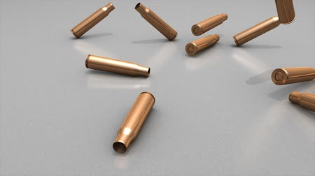 弾薬 : 3d animation, empty bullet cases dropping to floor.