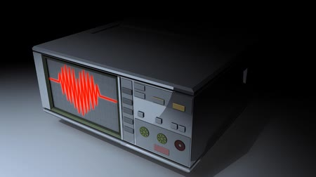 akış şeması : Concept animation, Cardiograph with heart-shaped heartbeat reading. matte included.