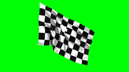 pista de corrida : Waving checkered flag animation with green screen, sports, black and white.