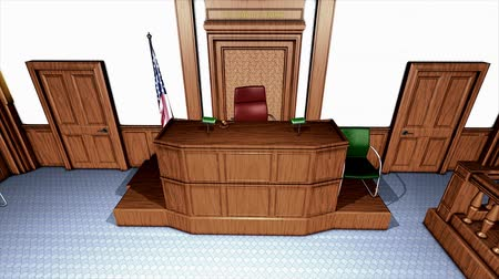 věta : Computer generated, 3d rendering USA courtroom interior view animation.