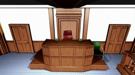 tárgyalóteremben : Courtroom, without US flag, justice system, civil, law. Stock mozgókép