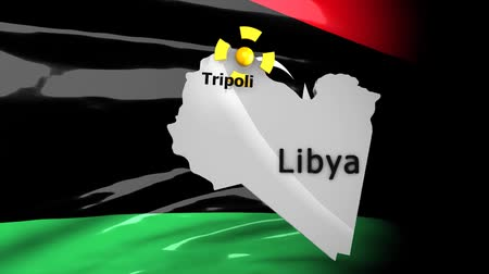 oluyor : Crisis location map series, Libya. Stok Video