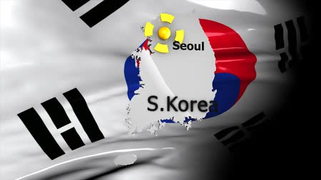 won : Crisis location map series, South Korea. Stock Footage