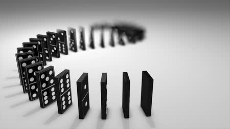 metaphors : Dominos effect 3d animation, flip, fall, interaction, art. Stock Footage