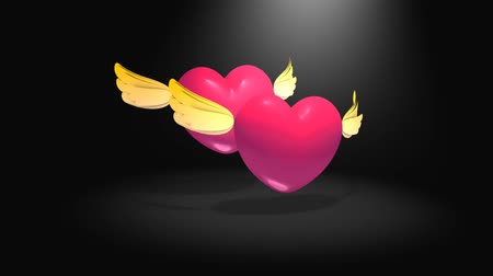 amor : Heart shape with  cute wings flying, magical, fairy. green screen. Dostupné videozáznamy