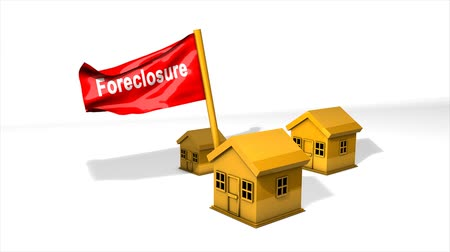 pożyczka : Conceptual animation foreclosure crisis, alpha channel included.