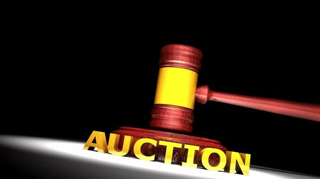 árverezői kalapács : Auction gavel animation with matte, business, deal. Stock mozgókép
