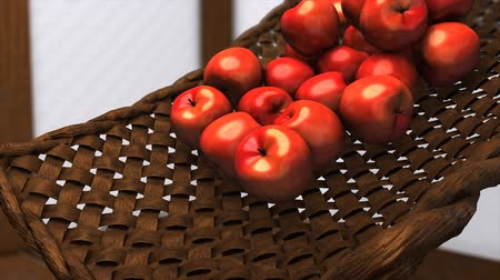produce market : Computer generated, Fresh apples rolling down on bamboo bucket.