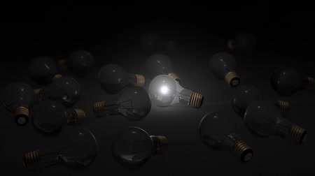 aydınlatmak : A glowing light bulb, electricity, switch on, dark.