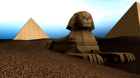 esfinge : Artist recreation of Great sphnix of Giza. Stock Footage