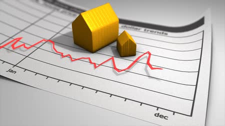 anual : House price chart graphic animation, chart, arrow.