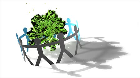 recortar : Environmental concept animation, eco-friendly, tree, people, awareness, green, safe. Vídeos