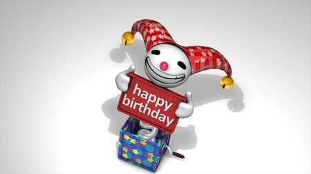 doğum günü : Concept 3d animation Jack in the box with surprise happy birthday text.