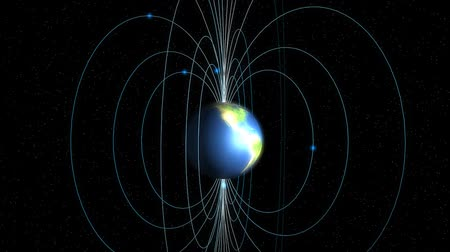 referência : Earth magnetic field, planet, science, physics, education. Stock Footage