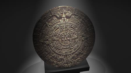 relics : Cgi Maya calendar over a pillar, ancient.