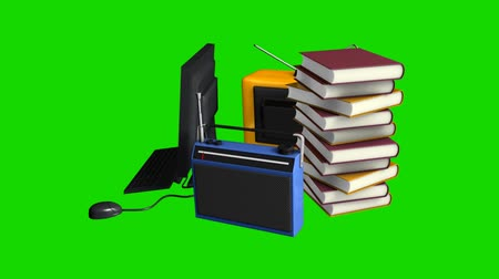 conventional : Media information mediums, with green screen, tv, radio, internet.