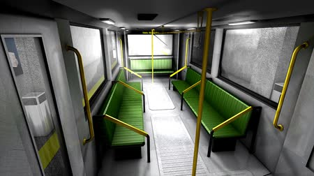 rapid transit : 3d animation, empty metro train.