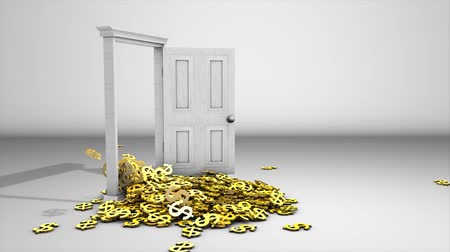 unlocking : Dollar sign pouring from door. matte included Stock Footage