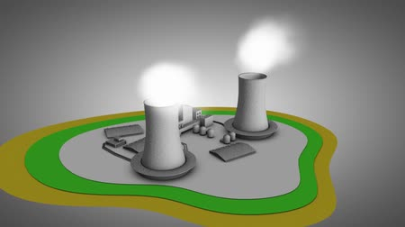 chernobyl : Artist impression 3d illustration of nuclear reactor. 360 degree view, looping. Stock Footage