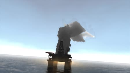 broca : Animation, Offshore oil platform caught fire.