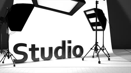 photography themes : Computer generated, Photography studio with equipment setting up. Stock Footage