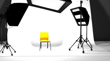 reflektör : Computer generated, Photography studio with equipment setting up. Stok Video