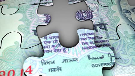 clipe de papel : India Rupee bank note puzzle concept animation.
