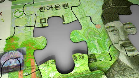 won : Korea Won bank note puzzle concept animation. Stock Footage