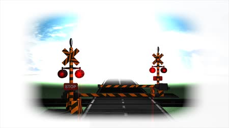 toon : Computer generated, 3d rendering, Railroad crossing animation. Stock Footage