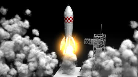 rakieta : 3d animation, Rocket launching, toy, flew, launching pad, lift off.