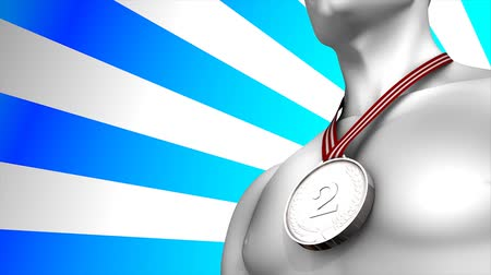medaille : Concept animation Silver medal winner, matte included. Stockvideo