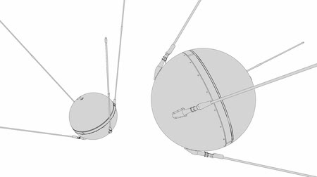 sputnik satellite : 1957 Sputnik 1, technical lines drawing, space. Stock Footage