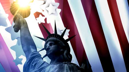usa independence day : Concept patriotic animation, Statue Liberty with American flag. Stock Footage