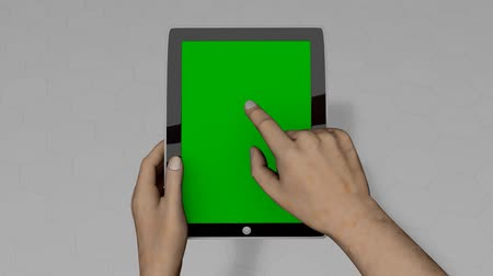 чувствительный : Tablet pc hand gestures, alpha matte, green screen included.
