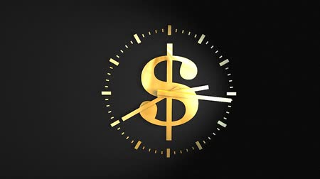 inflação : Time and money concept animation, clock, ticking, running.