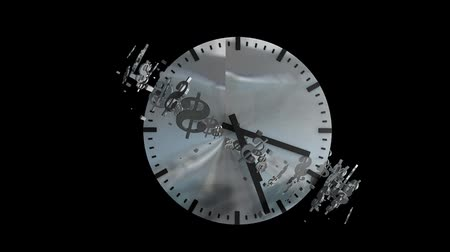 tempo : Time and money concept animation, clock, ticking, running.