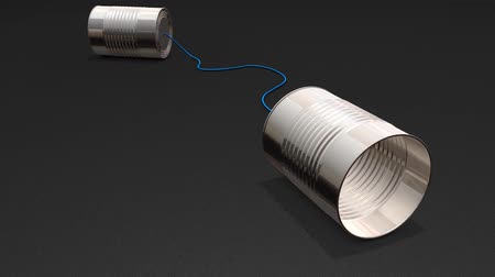 interakce : Tin can phone, basic, simple, wire, transmit, toy.