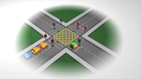 congested : Road traffic light concept animation. Stock Footage