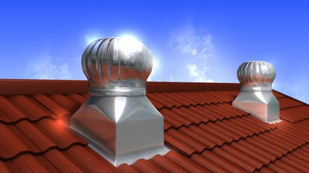 ventilátor : Rooftop wind-driven ventilation turbine, air, flow, technology.