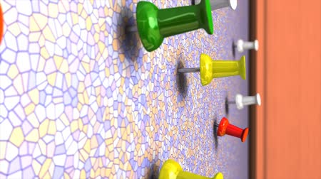 rajzszeg : Wall pin 3d animation, close up, push, thumb, colourful.