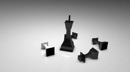 won : Chess game concept animation, board, competition. Stock Footage